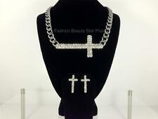 Love and Hip Hop Side Cross Necklace & Earrings Set - Bling Crystal Pendant