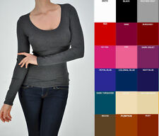 New WHIMSY Long Sleeve Basic Layering TEE T SHIRT SCOOP Neck STRETCH Free Ship