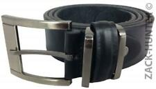 MENS LEATHER BELTS 1.5''  BLACK BELTS BY MILANO SILVER WIDE BUCKLE