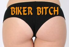 WOMEN'S JUNIORS HOT SEXY BOOTY BOY SHORTS Biker Bitch NEON ORANGE BOLD LINGERIE