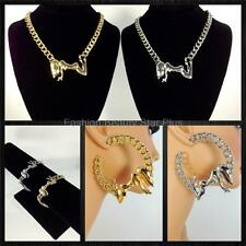 Exotic Dancer Necklace Earrings Bracelet Jewelry Set - Gold/Silver (USA Seller)
