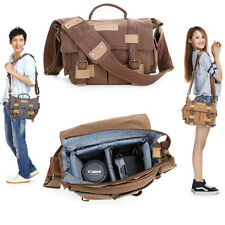 Waterproof Canvas Rucksack Men Women DSLR Canon Nikon Camera Shoulder Insert Bag