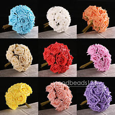 12-30 Head For DIY Bouquets Bridal Latex Real Touch Artificial Rose Flowers Pick