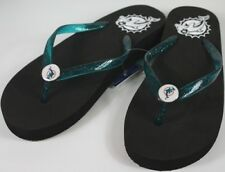 Miami Dolphins Womens Wedge Flip Flop Slippers