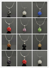 Austrian Crystal Rhinestone Pave Disco Ball Beads Necklace Pendants Charms 10 mm