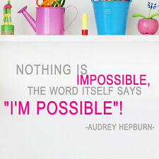 S47_Audrey Hepburn Possible Say Quote vinyl lettering decals wall decor sticker