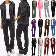 TheMogan VELOUR TRACKSUIT Sporty Casual Zip Hoodie Jacket and Sweat Pants Set