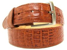Belt New Crocodile Alligator Belly Design Embossed Leather Cowboy Western Cognac