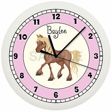 PERSONALIZED PINK LITTLE PONY WALL CLOCK HORSE GIRLS BEDROOM DECOR