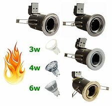 4 x GU10 LED Fire Rated Tilt Downlight Recessed Downlighter 240v Mains 3W 4W 6W