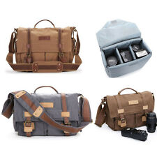 Canvas DSLR Camera Shoulder Messenger Bag Padded Insert For Canon Nikon Sony