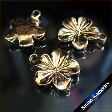 20x23mm KC Gold Plated Zinc Alloy Flower Charms Pendants for Jewelry Making