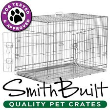 Silver Dog Crate Kennel - Pet Playpen Cage w/ Metal Tray Pan