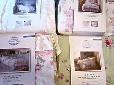 Simply Shabby Chic Duvet Set White Lace Pink Ruched Yellow Rose Indigo Batik