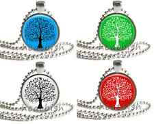 """TREE OF LIFE Silhouette 1"""" Inch Round Glass Photo Charm Pendant Accessory"""