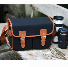 Waterproof Canvas Camera Shoulder Bag + Partition For Canon Nikon Sony Fuji DSLR