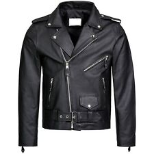 'BRANDO' Men's Classic Biker Motorcycle Motorbike Hide Leather Jacket