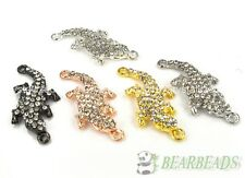 10Pcs Side Ways Crystal Rhinestones Pave Lizard Bracelet Connector Charm Beads