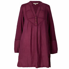 Women's flowing v neck winter berry tunic shirt