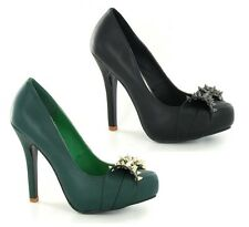 """Ladies Spot On Slip On Pointed Court Shoes with Studded Bow Trim & 5"""" Heel F9615"""