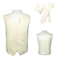 Men's Dress Vest NeckTie CREAM Color Neck Tie Set for Suit or Tuxedo