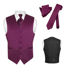 Men's Dress Vest NeckTie EGGPLANT PURPLE Neck Tie Set for Suit or Tuxedo