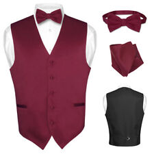 Men's Dress Vest BOWTie BURGUNDY Bow Tie Set for Suit or Tuxedo