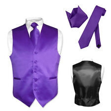 Men's Dress Vest NeckTie PURPLE INDIGO Neck Tie Set for Suit or Tuxedo