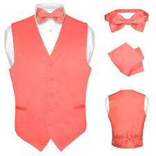 Men's Dress Vest BOWTie CORAL PINK Bow Tie Set for Suit or Tuxedo