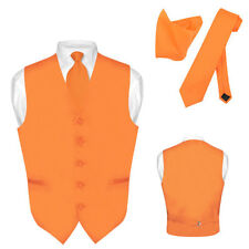 Men's Dress Vest NeckTie ORANGE Neck Tie Set for Suit or Tuxedo