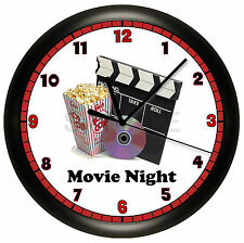 PERSONALIZED MOVIE NIGHT WALL CLOCK HOME THEATER ROOM RECREATION HOUSE WARMING