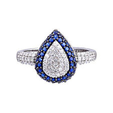 Sterling Silver Pave Blue/White Cubic Zirconia Pear Shape Cluster Wedding Ring