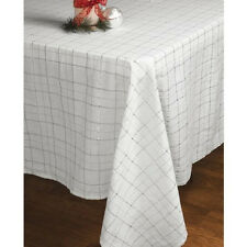 SILVER METALLIC PLAID CHRISTMAS HOLIDAY ANNIVERSARY 70RD or 60X84 TABLECLOTH