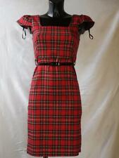 Women Ladies New Tartan Check Belted Party Dress- Size 8-14