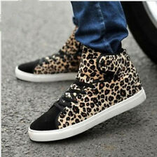 New Men's Lace High-top Sneakers Leopard-print British street Boot Shoes BM3