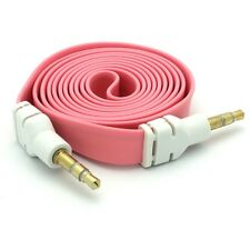 PINK FLAT CABLE CAR AUDIO STEREO AUX WIRE 3.5MM ADAPTER FOR AT&T T-MOBILE PHONES