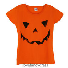 LADIES PUMPKIN T SHIRT 100% COTTON ORANGE TOP SPOOKY GHOUL ADULT FASHION TEE