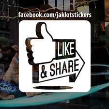 PERSONALISED FACEBOOK LIKE AND SHARE, Vinyl Window Sticker, Decal