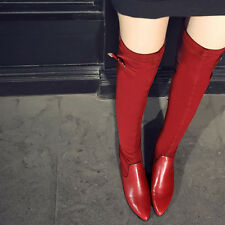 Women Sexy Leather Buckle Stretchy Pointed Toe Flat Riding Boots Shoes Plus Size