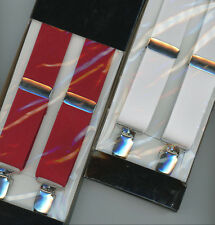 """Jazz Suspenders 1920's Braces Clip-On 1-1/8 """" Elastic One Size White or Red"""