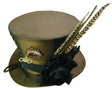 Steampunk Gothic copper tafeta Top hat with frames,key and feathers