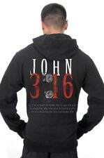 Men's John 3:16 Bible Verse Religious Faith Christian Catholic Zip Up Hoodie