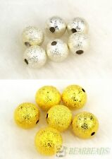 100pcs Stardust Metal Round Ball Spacer Beads Silver Gold Plated 8mm 10mm 12mm