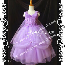 #PF01 Flower Girl/Holiday/Communions/Party/Formal Gown Dresses Purple 3-14 Years