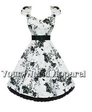 BEAUTIFUL H&R LONDON WHITE with BLACK FLORAL PINUP SWING 1950's DRESS VINTAGE