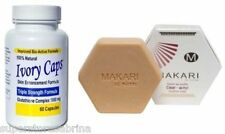 Glutathion Skin Whitening Pills IvoryCaps  + Makari Sulfur Antiseptic Soap