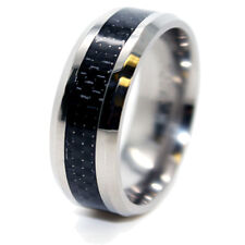 8mm Titanium with Black Carbon Fiber Inlay Unisex Wedding Ring Fashion Band