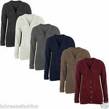 Christmas Womens Ladies Chunky Cable Knitted Button Grandad Cardigan Size  8-14