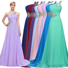 Womens One Shoulder Chiffon Bridesmaid Party Dress Purple Blue Evening Prom Gown