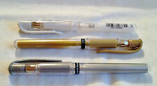 Sets of 2 WHITE Uni-Ball signo GEL pens also BLACK, GOLD & SILVER